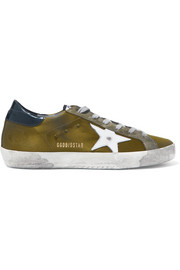 Super Star distressed suede and leather-trimmed satin sneakers