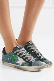 Super Star distressed suede-trimmed sequined canvas sneakers