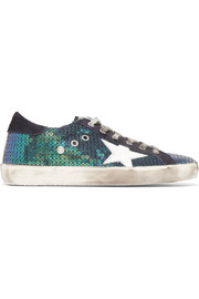 Golden Goose Deluxe Brand Super Star distressed sequined canvas and suede sneakers