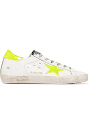 Super Star neon patent-paneled distressed leather sneakers