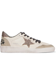 Super Star distressed suede-paneled leather sneakers