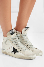 Francy distressed leather-paneled glittered suede high-top sneakers