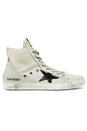 Golden Goose Deluxe Brand Francy distressed leather-paneled glittered suede high-top sneakers