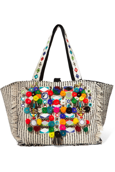 Antik Batik - Udipi Embellished Woven Cotton Tote - Off-white
