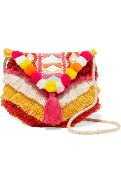 Frika embellished cotton shoulder bag
