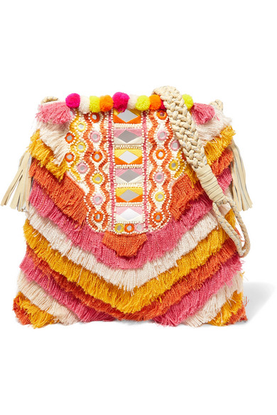 Frika leather-trimmed fringed cotton shoulder bag