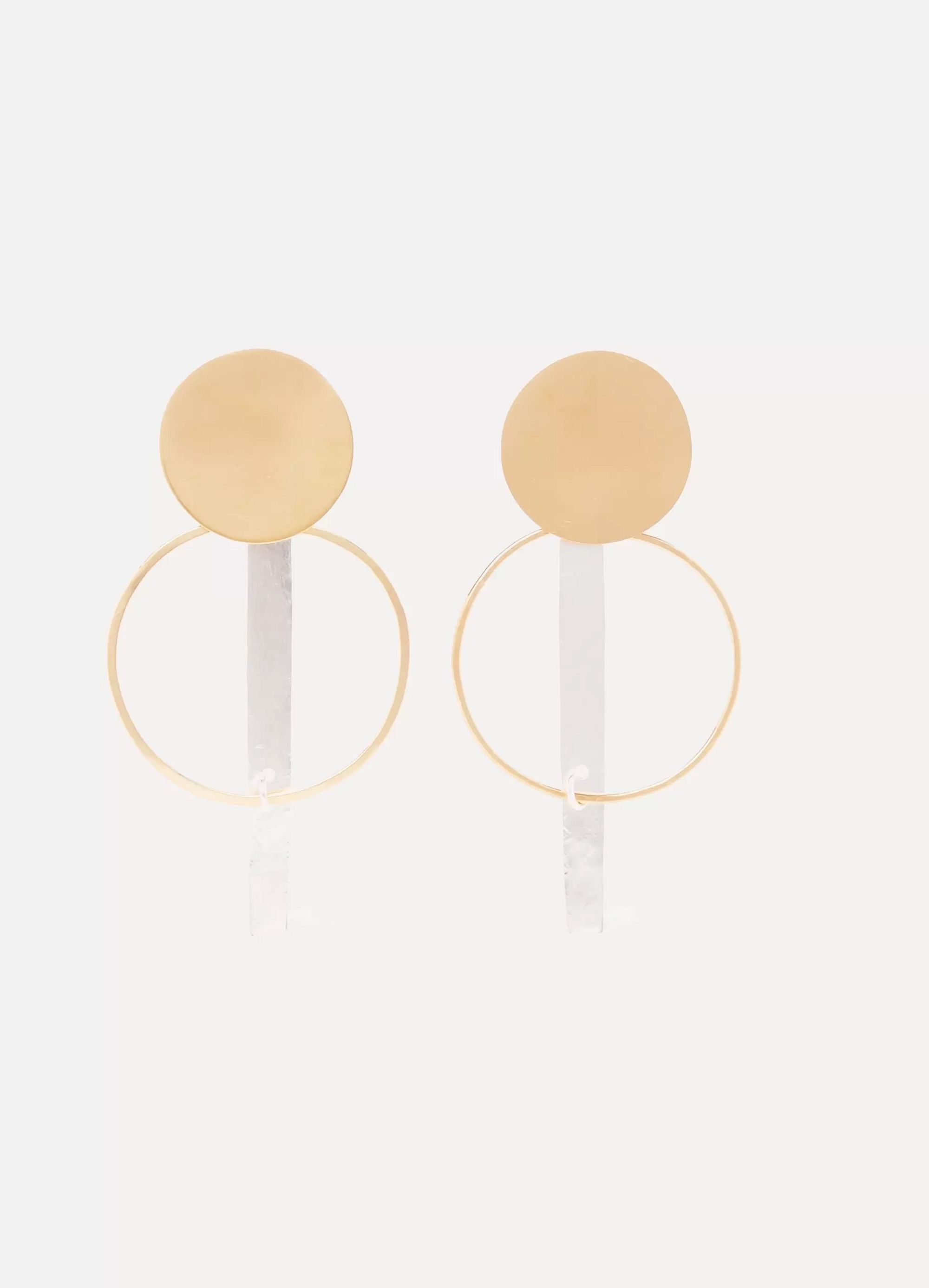 Annie Costello Brown Krikol gold and silver-tone earrings