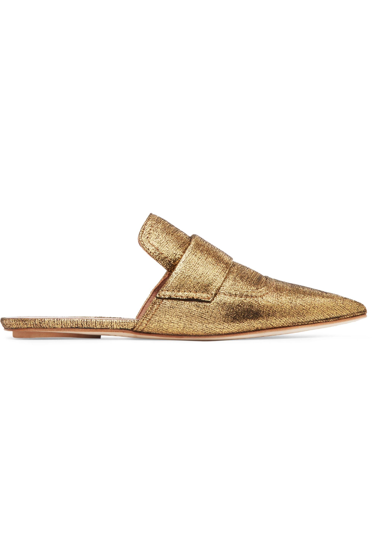Marni Slippers aus strukturiertem Metallic-Leder