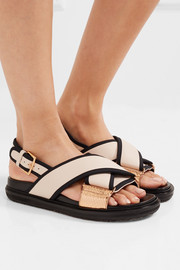 Marni Canvas and snake-trimmed leather sandals