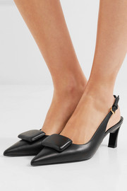 Marni Embellished leather slingback pumps