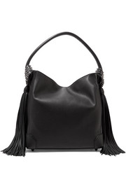 Christian Louboutin Eloise spiked tasseled textured-leather shoulder bag