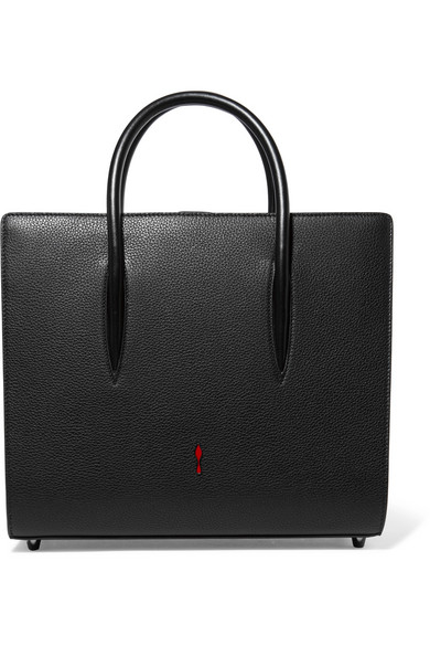 Christian Louboutin - Paloma Medium Spiked Matte And Patent-leather Tote - Black