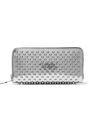 Christian Louboutin Panettone spiked metallic patent-leather continental wallet