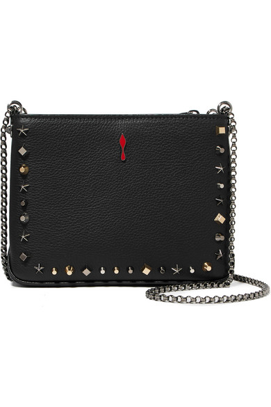 fb142a69ffb0e CHRISTIAN LOUBOUTIN TRILOUBI SMALL STUDDED TEXTURED-LEATHER SHOULDER BAG