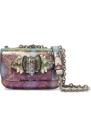 Christian Louboutin Sweet Charity embellished metallic elaphe shoulder bag