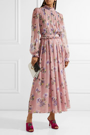 Pleated floral-print silk-chiffon gown