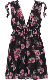 Ruffled floral-print silk-chiffon mini dress