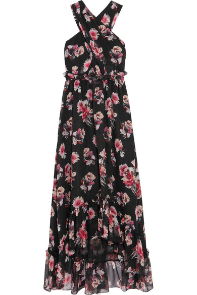 Ruffled floral-print silk-chiffon gown