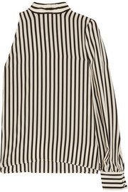 One-shoulder striped silk crepe de chine top