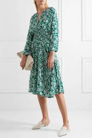 Maje Rayelle shirred floral-print crepe dress
