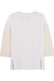 City Stripes paneled stretch-modal jersey top