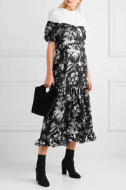 Off-the-shoulder open-back printed satin-twill midi dress