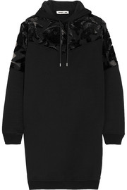 Devoré velvet-paneled cotton-jersey hooded mini dress