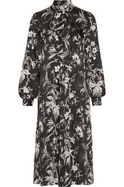 McQ Alexander McQueen Pussy-bow printed satin-twill midi dress
