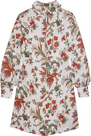 McQ Alexander McQueen Pintucked floral-print chiffon mini dress
