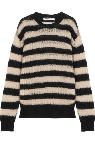 McQ Alexander McQueen - Striped Wool-blend Sweater - Black