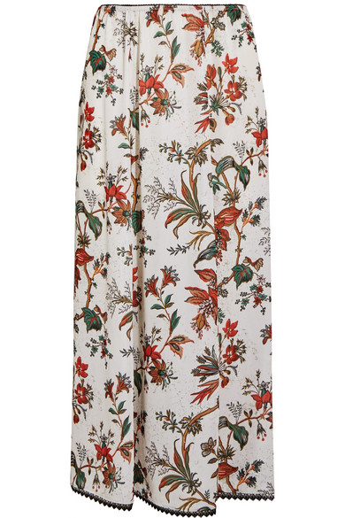 McQ Alexander McQueen - Lace-trimmed Floral-print Chiffon Midi Skirt - Ivory