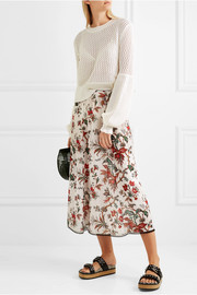 McQ Alexander McQueen Lace-trimmed floral-print chiffon midi skirt