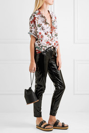 McQ Alexander McQueen Floral-print georgette and crepe de chine shirt