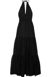 Eyelet-embellished cotton-voile maxi dress
