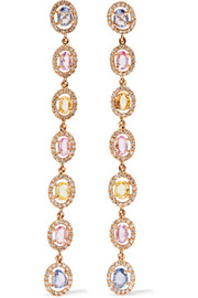 Blossom 18-karat gold, sapphire and diamond earrings