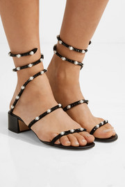 René Caovilla Crystal and faux pearl-embellished nubuck sandals