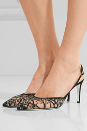 René Caovilla Crystal-embellished suede and mesh pumps