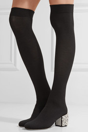 René Caovilla Embellished stretch-knit over-the-knee boots