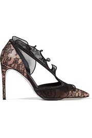 Embellished lace, satin and plissé organza pumps