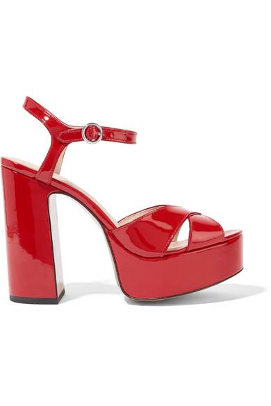 Marc Jacobs - Lust Patent-leather Platform Sandals - Red