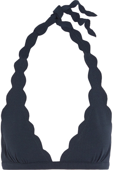 Marysia - Spring Scalloped Halterneck Bikini Top - Midnight blue