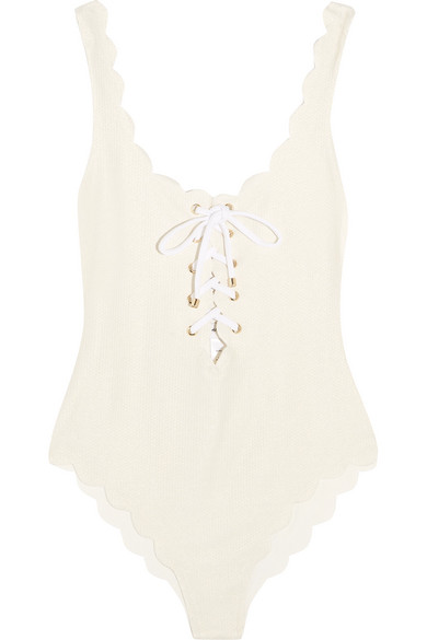 Marysia - Palm Springs Lace-up Scalloped Swimsuit - Cream