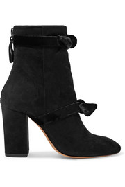 Lorraine velvet-trimmed suede ankle boots