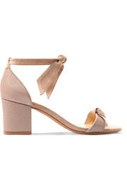 Clarita bow-embellished suede and satin-twill sandals