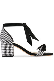 Clarita bow-embellished houndstooth canvas and suede sandals