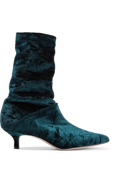 Tibi - Harper Crushed-velvet Boots - Petrol