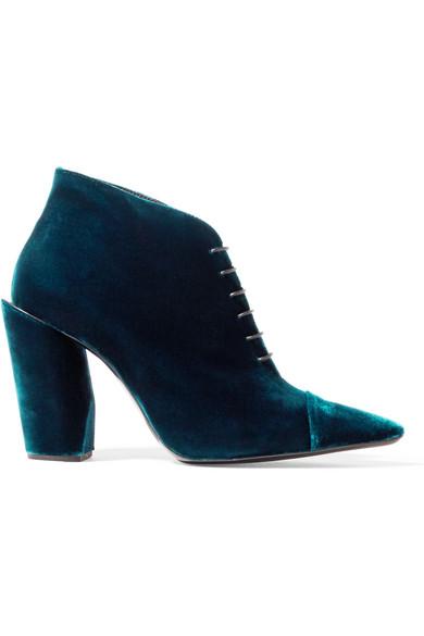 Jil Sander - Velvet Ankle Boots - Petrol