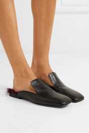 Jil Sander Shearling-trimmed leather slippers