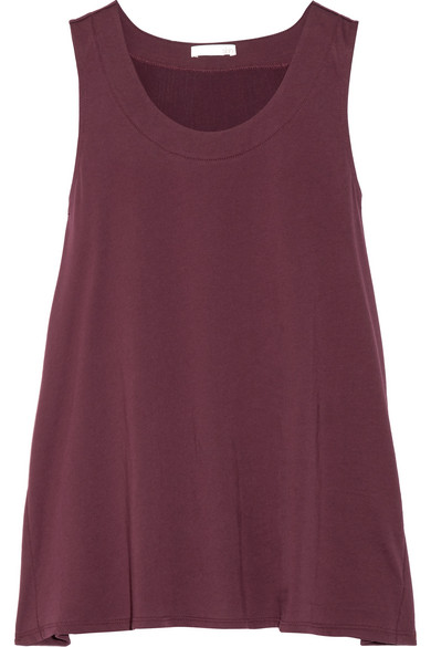 Skin - Gauze-trimmed Pima Cotton-jersey Pajama Top - Grape