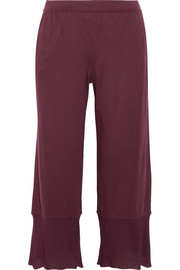 Gauze-trimmed Pima cotton-jersey pajama pants